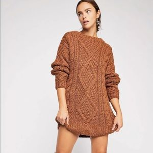 FREE PEOPLE M/L IMOGEN CABLE KNIT SWEATER DRESS